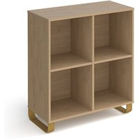 Canary Low Wooden Shelving Unit In Kendal Oak And 4 Shelves