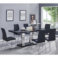 Product photograph showing Candice Dining Table In Black Gloss With 6 Black Opal Chairs