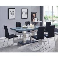 Candice Dining Table In Grey Gloss With 6 Black Opal Chairs