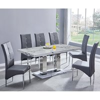 Product photograph showing Candice Gloss Dining Table In Diva With 6 Grey Vesta Chairs