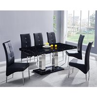 Product photograph showing Candice Gloss Dining Table In Milano With 6 Black Vesta Chairs