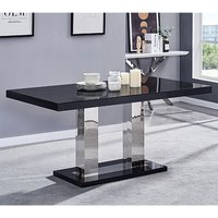 Candice Glass Top Wooden Dining Table In Black High Gloss
