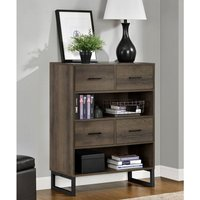 Product photograph showing Candon Wooden Short Bookcase In Brown