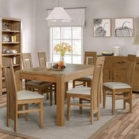 Capre Small Dining Table In Rustic Oak With Six Dining