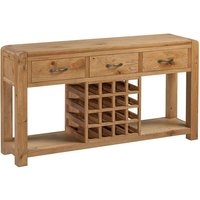 Product photograph showing Capre Wooden Sideboard In Rustic Oak With Wine Rack