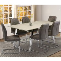 Product photograph showing Capri Marble Effect Dining Set In Taupe With 6 Capri Chairs