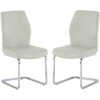 Product photograph showing Capri Stone Pu Leather Dining Chair In A Pair