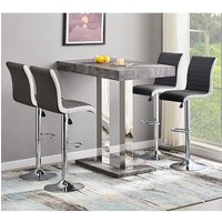 Caprice Concrete Effect Bar Table With 4 Ritz Black White Stool