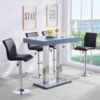 Product photograph showing Caprice Glass Bar Table In Grey Gloss With 4 Black Ripple Stools
