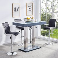 Product photograph showing Caprice Glass Bar Table In Grey Gloss With 4 Black Ritz Stools