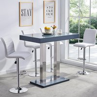 Product photograph showing Caprice Glass Bar Table In Grey Gloss With 4 White Ripple Stools