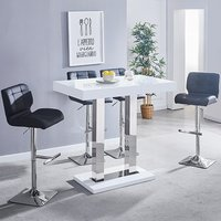 Product photograph showing Caprice White Gloss Bar Table With 4 Candid Black Bar Stools