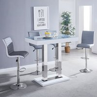 Product photograph showing Caprice Grey Glass Bar Table In White Gloss 4 Grey White Stools