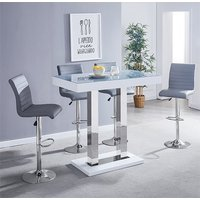 Caprice White Grey Glass Bar Table With 4 Ripple Grey Stool