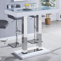 Product photograph showing Caprice Grey Glass Top Bar Table With White High Gloss