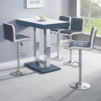 Caprice Grey White Gloss Bar Table With 4 Copez Grey White Stool