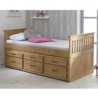 Captains Wooden Storage Single Bed With Guest Bed In Waxed Pine
