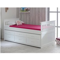 Captains Wooden Storage Single Bed With Guest Bed In White