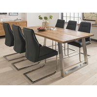 Carey Wooden Dining Table In Oak With 6 Roscoe Charcoal Chai