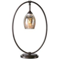 Carmel Table Lamp In Mottled Mercury Glass Shade With Metal Base