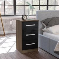 Carola Bedside Cabinet In Walnut Black High Gloss And 3 Drawers