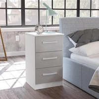 Carola Bedside Cabinet In White Grey High Gloss With 3 Drawers