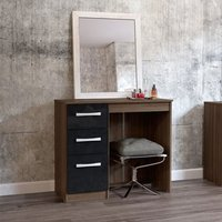 Product photograph showing Carola Dressing Table In Walnut Black High Gloss With 3 Drawers