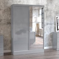 Product photograph showing Carola Mirrored Sliding Wardrobe In Grey High Gloss With 2 Doors