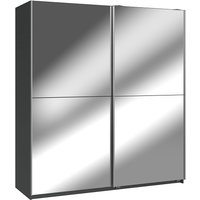 Product photograph showing Carra Sliding Wardrobe Large In Graphite With 2 Mirrored Doors