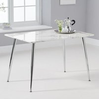 Product photograph showing Carrera Marble Dining Table In White And Grey