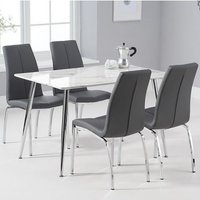 Product photograph showing Carrera White And Grey Marble Dining Set And 4 Grey Naos Chairs