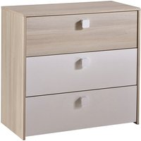 Product photograph showing Carson Childrens Chest Of Drawers In Acacia And Pearl White