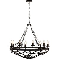 Product photograph showing Cartwheel Wall Hung 8 Pendant Light In Matt Black With Chain