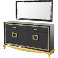 Carugo Sideboard With Mirror In Black Gloss And Diamanté Jewels