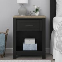 Carver Bedside Cabinet In Black And Weathered Oak