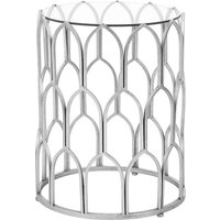 Cascade Glass Side Table Round In Clear And Silver Leaf