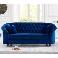Product photograph showing Casiop Chesterfield Plush Fabric 3 Seater Sofa In Blue