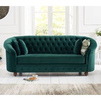 Product photograph showing Casiop Chesterfield Plush Fabric 3 Seater Sofa In Green