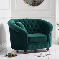 Product photograph showing Casiop Chesterfield Plush Fabric Upholstered Armchair In Green