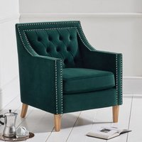Product photograph showing Casobellio Plush Fabric Upholstered Armchair In Green
