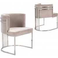 Product photograph showing Casoli Beige Velvet Dining Chairs In Pair With Silver Legs
