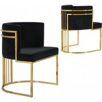 Product photograph showing Casoli Black Velvet Dining Chairs In Pair With Gold Legs