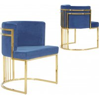 Product photograph showing Casoli Blue Velvet Dining Chairs In Pair With Gold Legs