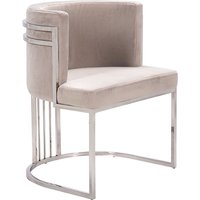 Product photograph showing Casoli Velvet Dining Chair In Beige With Silver Legs