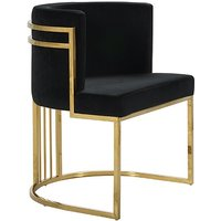 Product photograph showing Casoli Velvet Dining Chair In Black With Gold Legs