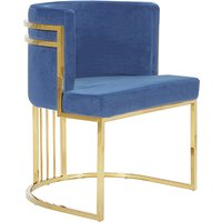 Product photograph showing Casoli Velvet Dining Chair In Blue With Gold Legs
