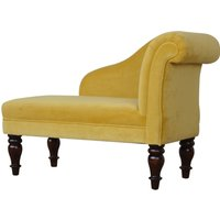 Product photograph showing Cassia Velvet Lounge Chaise Chair In Mustard