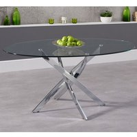 Castola Oval Glass Dining Table With Chrome Legs