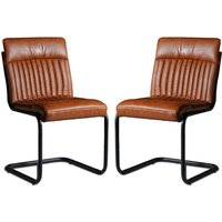 Product photograph showing Catila Brown Faux Leather Dining Chairs In Pair