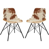 Product photograph showing Catila Cowhide Faux Leather Dining Chairs In Pair